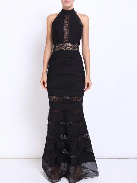 Black Pierced Lace Maxi #Dress #stylewe #fashion #elegant #Women