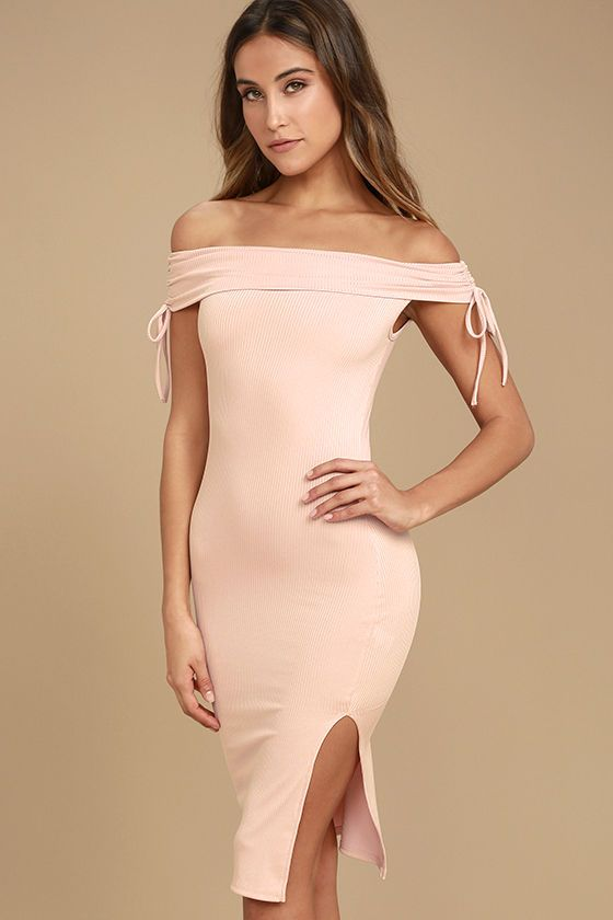 The Never Enough Blush Pink Off-the-Shoulder Bodycon Midi Dress is too chic to pass up! Soft ribbed knit shapes an off-the-shoulder neckline and short sleeves with ruched, drawstring detail. Sleek bodycon midi skirt with side slit.