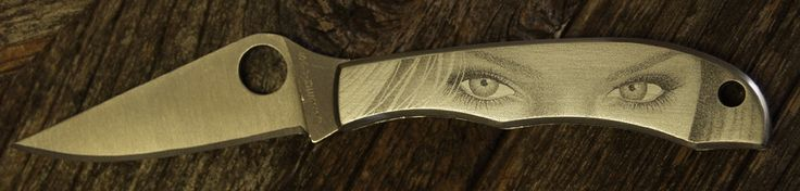 Bulino engraved eyes on small Spyderco by Ron Jr.