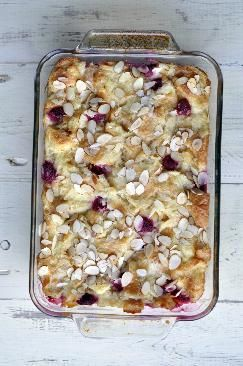 Croissant Pudding with Raspberries