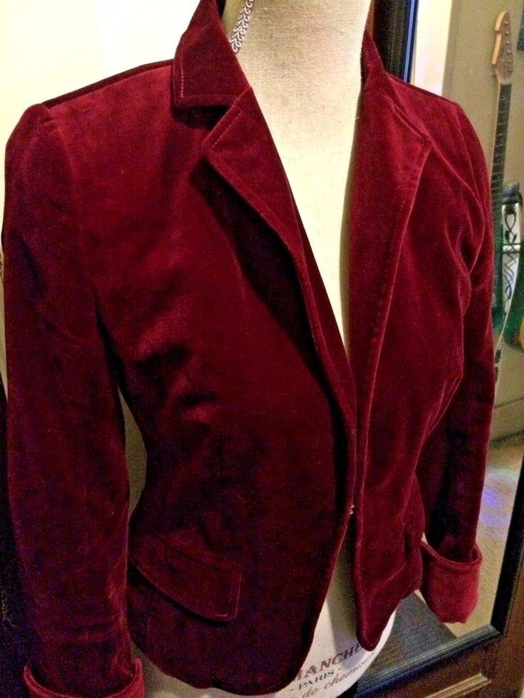 J.CREW VELVET JACKET, BURGUNDY WITH GRAY SATIN LINING, MISSES SIZE 2 #JCREW #BLAZER