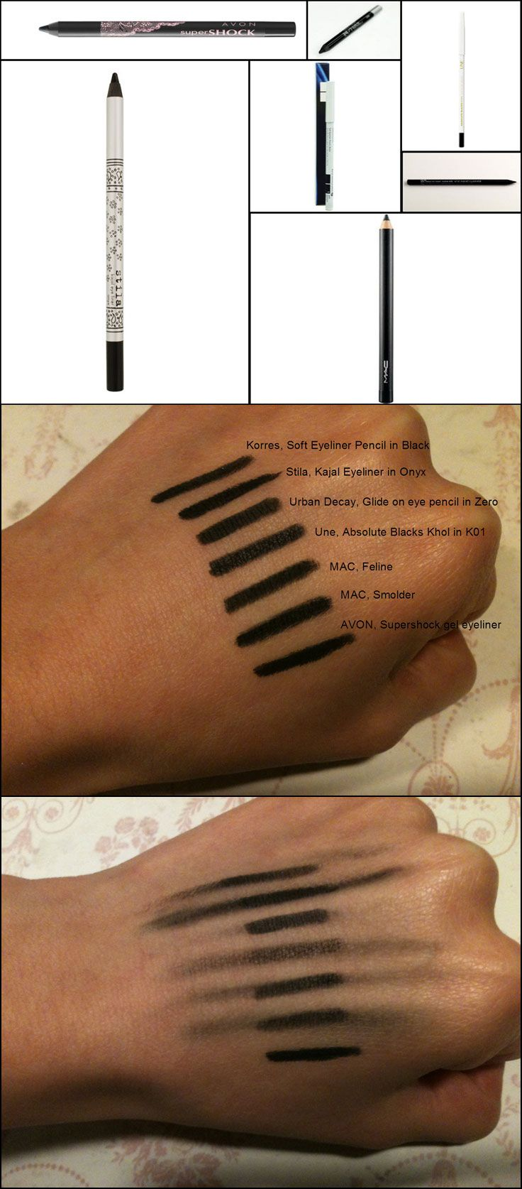 COMPARISON / SWATCHES :: Best Black Eye Khols / Eyeliner Pencils :: BLACKEST = Stila kajal in Onyx, MAC Smolder, Avon Supershock gel eyeliner in Black... BEST SMUDGING (4 smoky looks) = Korres soft eyeliner pencil in black (01), Stila kajal in Onyx, Une Absolute Blacks Khol in K01 (softer look)... SMUDGEPROOF (staying power) = Urban Decay glide on eye pencil in Zero, Avon Supershock in Black... SOFTEST KHOL = Stila, MAC Feline or Avon! | #eyekhol #blackeyeliner #eyelinerpencil…