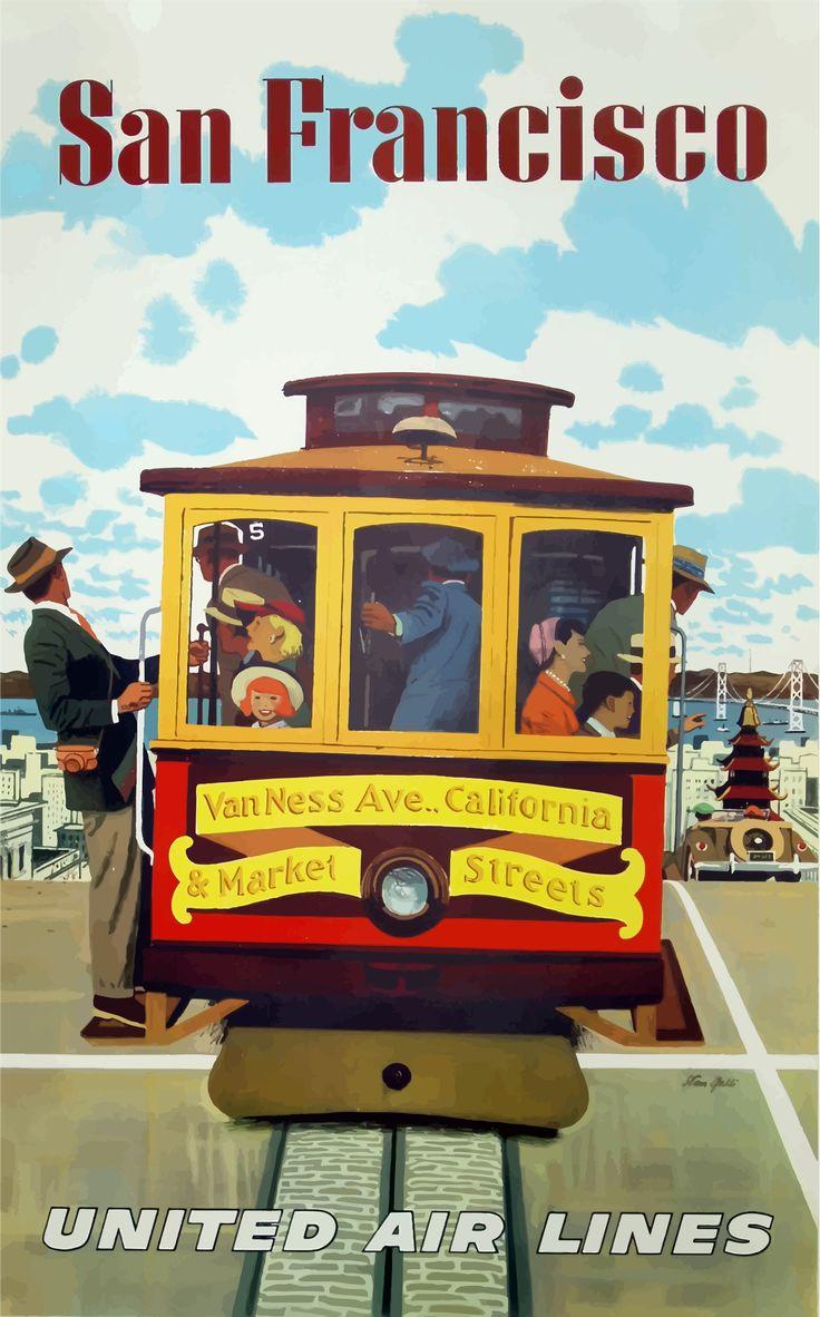 Vintage Travel Poster San Francisco 4 by @GDJ, Vintage Travel Poster San Francisco 4, on @openclipart