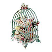 Pastries & Pearls  Soporte de 3 pisos para pasteles y repostería en general con forma de jaula para pájaros