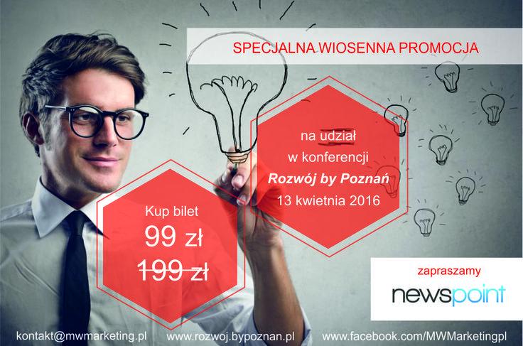 W najbliższą środę będziecie mogli nas spotkać na konferencji Rozwój by Poznań. Jako patron wydarzenia przygotowaliśmy dla uczestników specjalne vouchery z darmowym dostępem do Newspoint - szukajcie ich w materiałach, które dostaniecie! http://rozwoj.bypoznan.pl/