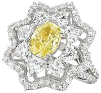 Lovely yellow sapphire and diamond star-shaped ring