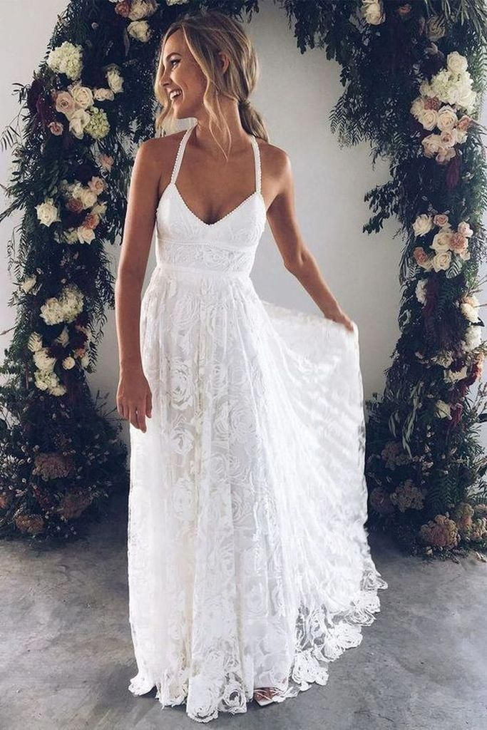 Boho A Line Spaghetti Court Train V-neck Lace Beach Wedding Dress Backless Side Slit Wedding Gown #backlessweddingdress