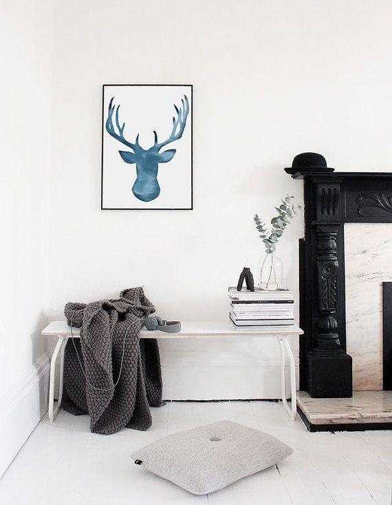 Winter Printable Art | BlueWatercolor Reindeer Poster | Reindeer Wall Art  | Scandinavian Poster | Christmas Poster  | Instant Download