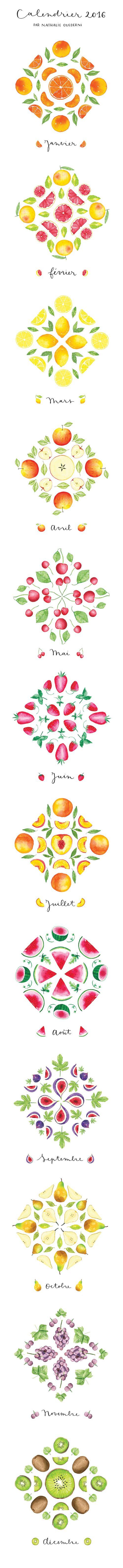 Watercolor Fruit Calendar by Nathalie Ouederni - www.nathalieouederni.com