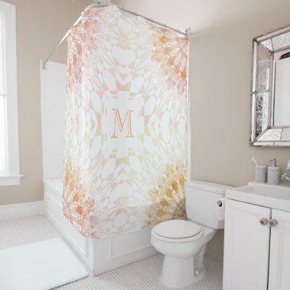 Apricot Mandala Geometric Monogram Shower Curtain - pattern sample design template diy cyo customize