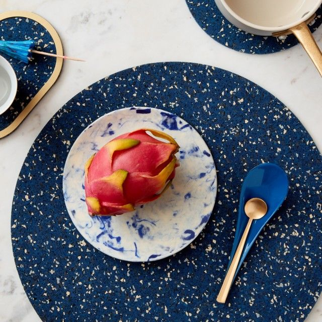 """Set of Round Placemats 15"""" & Oval Rubber Coasters by SLASH OBJECTS"""