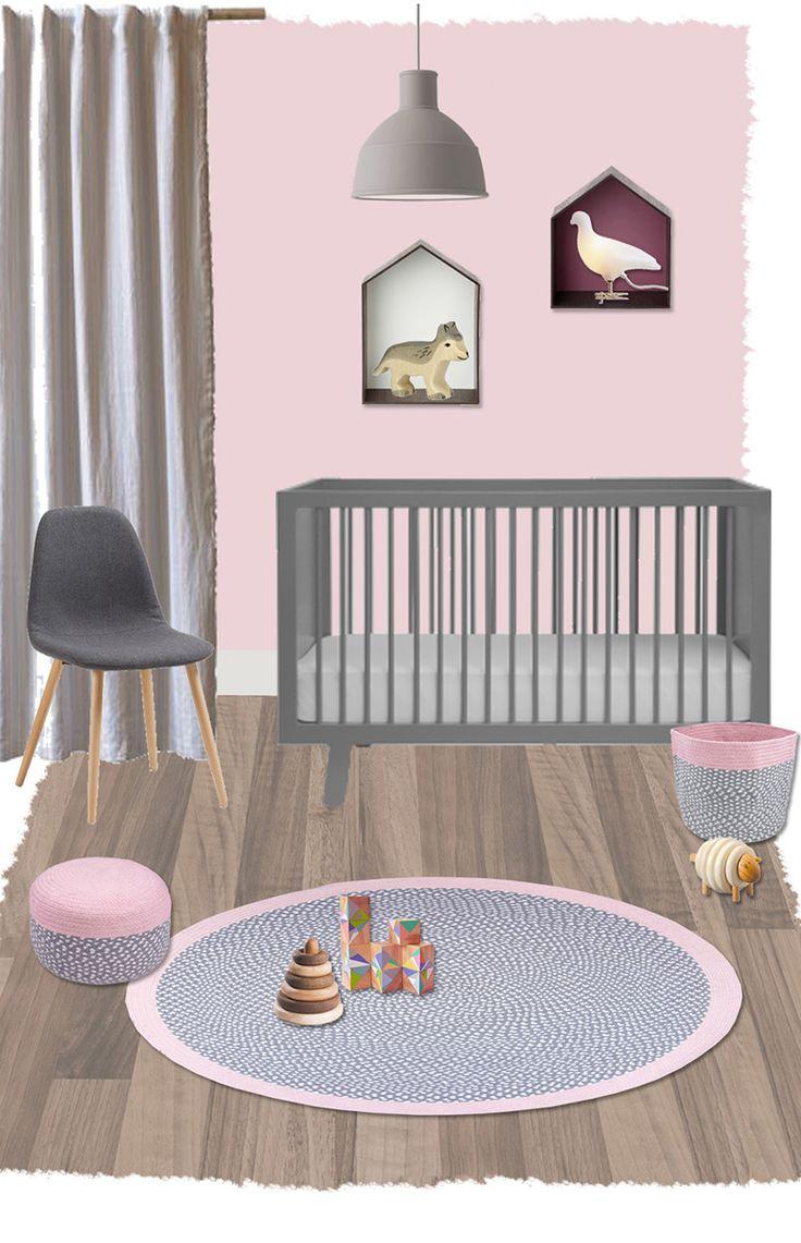 Superb Geflochtener Baumwoll Teppich uBrenda u grau rosa cm