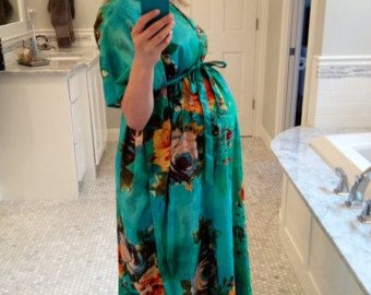 Aqua Large Floral Blossom Front Buttoned Maternity by silkandmore