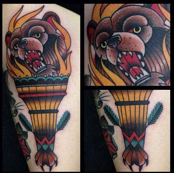 Bear head in Torch American Traditional Tattoo | Tattoos ...