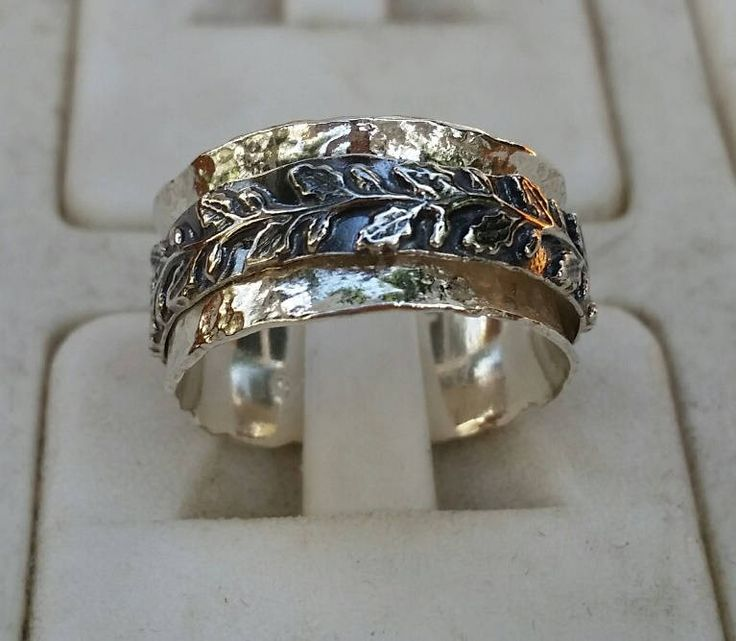 Silver Spinner Ring ,Leaves Silver Ring ,Sterling Silver 925 Ring ,Unisex Spinner Ring ,Wedding Spinner Ring ,Bride And Groom Wedding Band by TalyaDesign on Etsy