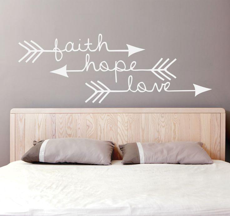 Faith Hope Love Arrow Vinyl Decal Interior Exterior Available Bedroom Wall Decor