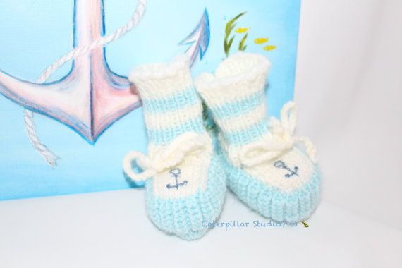 Hand Knitted Baby Boy Booties infant 0-3m by CaterpillarStudio7