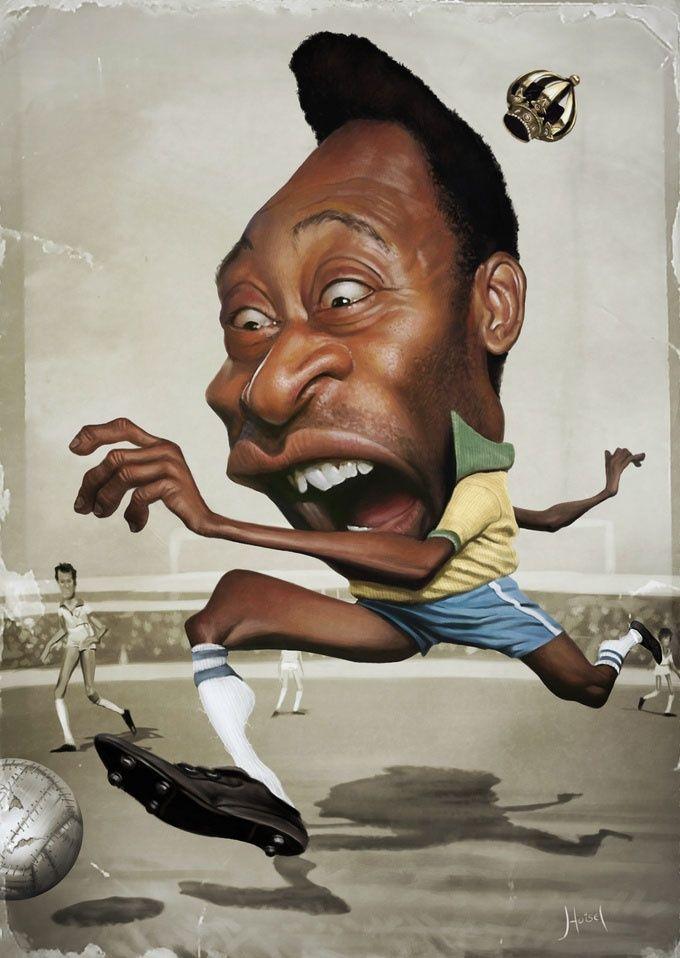 Pele #Caricature #FunnyFaces                                                                                                                                                                                 Mais