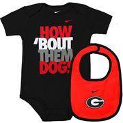 Nike Georgia Bulldogs Infant Creeper Bib Set - Black/Red