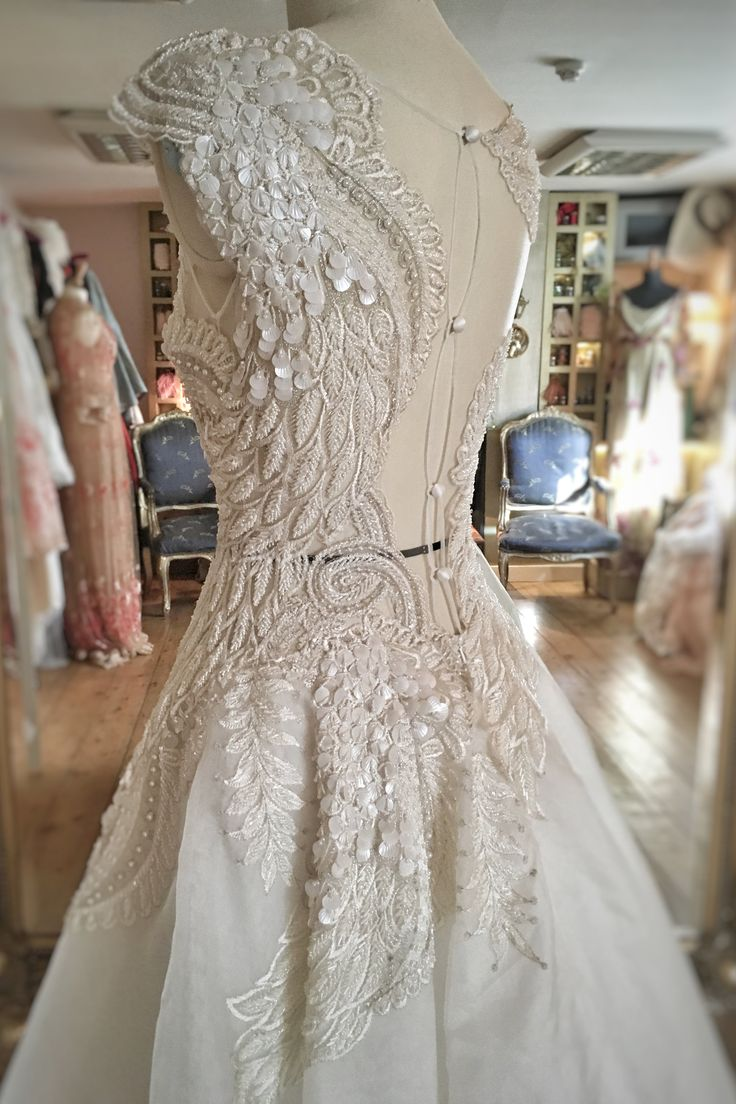 beaded feather ballerina wedding dress by Joanne Fleming Design