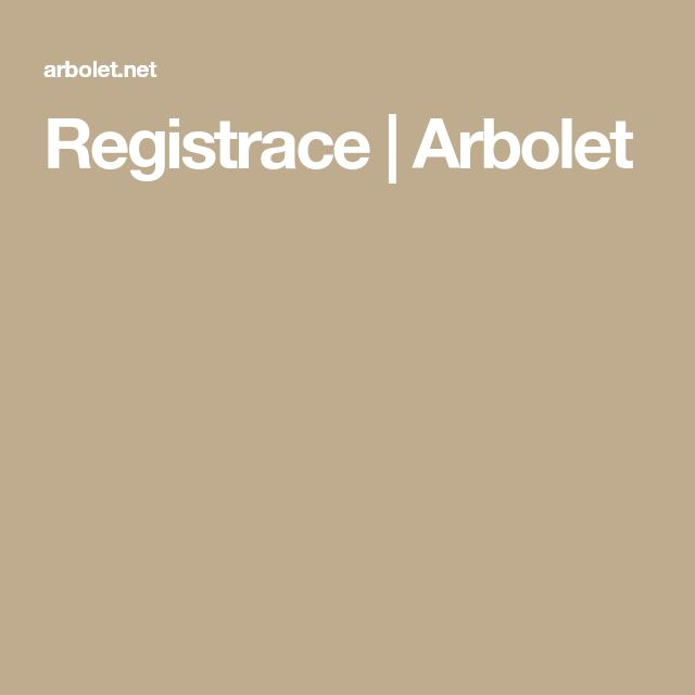 Registrace | Arbolet