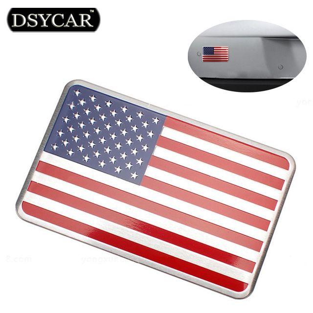 DSYCAR Metal American US Flag Car sticker logo Emblem Badge Car Styling sticker For Jeep Bmw Fiat VW Ford Audi Honda Toyota Lada