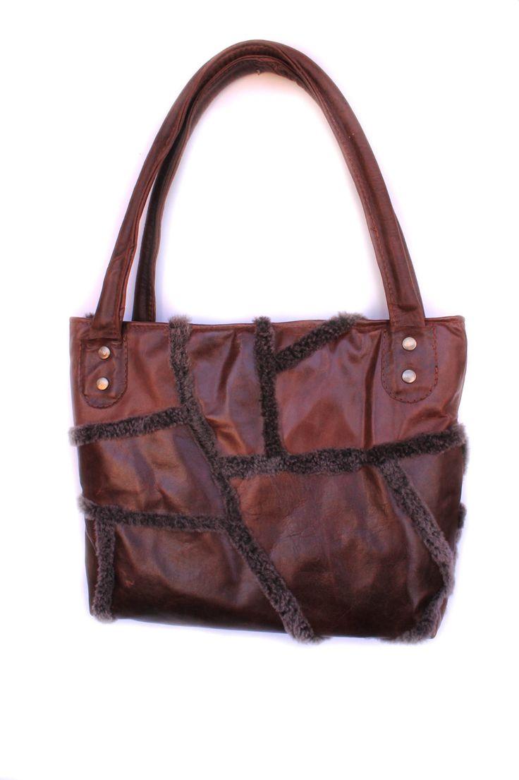 Leather Tote Bag Fur Tote Bag