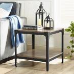 Angle Iron Driftwood (Brown) End Table (Set of 2)