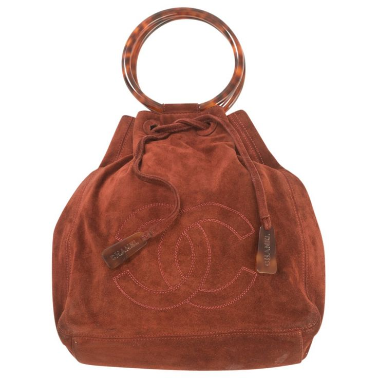 CHANEL Brown Suede Handbag | Vestiaire Collective