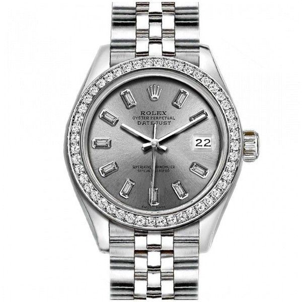 Pre-owned Rolex Datejust Stainless Steel With Silver Dial 26mm Womens... ($3,759) ❤ liked on Polyvore featuring jewelry, watches, preowned watches, stainless steel jewellery, stainless steel watches, stainless steel jewelry and diamond bezel watches