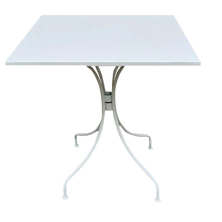Park garden table square steel white