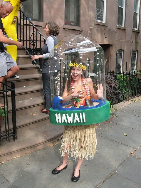 Hawaii snow globe - Hello halloween costume!  Although I wonder how she can breathe in there?