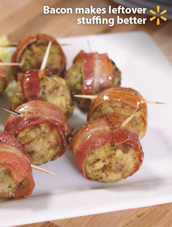 Bacon makes everything better. Use it as a simple way to disguise the leftovers from your Thanksgiving spread. Don't send take-home boxes, you'll want to keep your extra stuffing to yourself for this easy Food Hack using just 2 ingredients. Roll the stuffing into balls, wrap it with a slice of bacon and secure with a toothpick. Bake at 375° for 15-18min and enjoy! The bacon adds a little extra crunch and a lot of extra flavor. Check out more Walmart Food Hacks and tips.