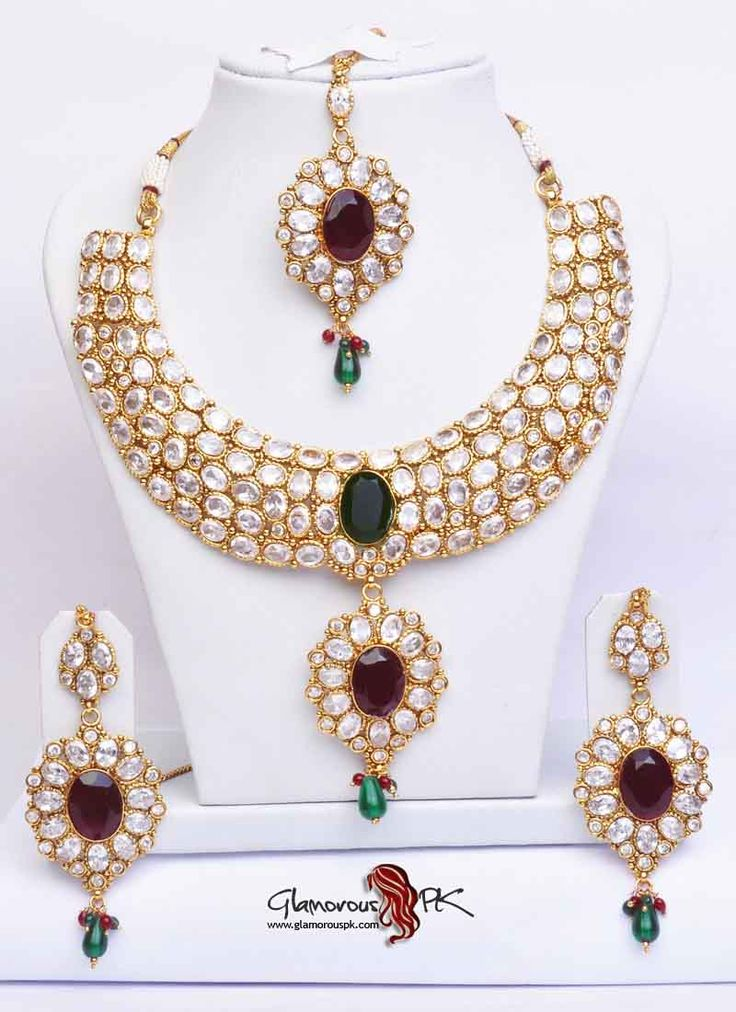 WEDDING JEWELRY | Stone Studded Pakistani Bridal Jewelry Set – Studded Jewelry