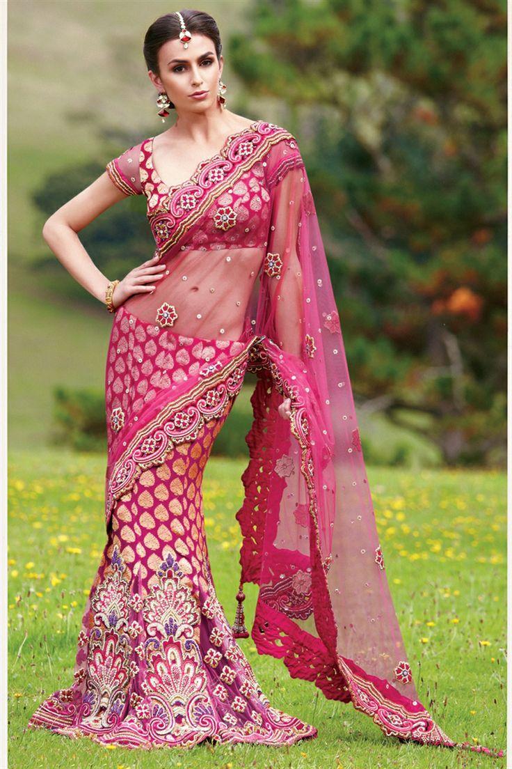 fuschia pink saree
