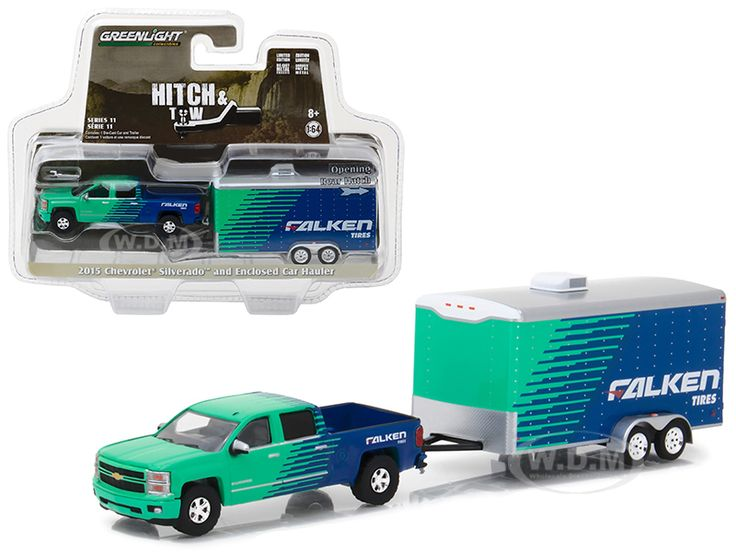Up to 45% Off + FREE Shipping. View Available Deals and Coupons for 2015 Chevrolet Silverado Pickup Truck Falken Tires and Enclosed Car Hauler Hitch & Tow Series 11 1/64 Diecast Car Model by Greenlight.