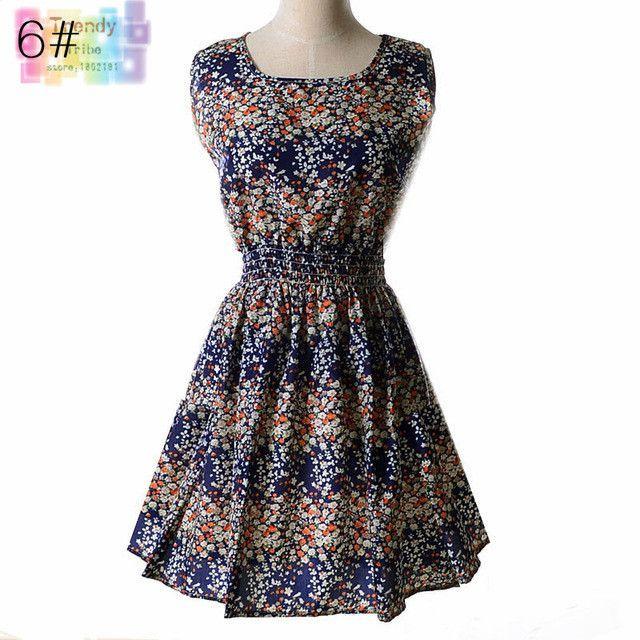 Sundress Party Summer Women Dress Casual Vestidos Jumper Chiffon Stripe Floral Print Elastic Waist Bohemian Beach Dresses 1138