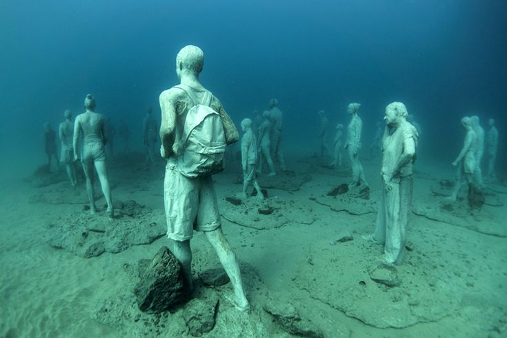 jason decaires taylor has installed the first series of sculptures in the underwater museo atlantico off the coast of lanzarote, spain.