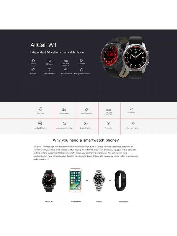 AllCall W1 Smart Watch Phone (Grey)