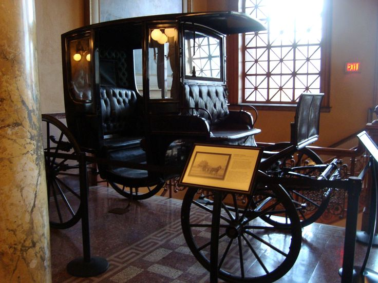 Rockaway Carriage on exhibit. A four-wheel horse-drawn carriage popular in the United States after its introduction at Rockaway, N.J. in 1830. It belonged to the Hayes-Davies family (1884)