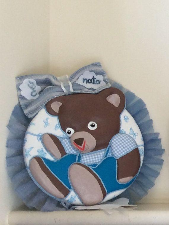 Fiocco nascita bimbo  Linea orsetti  di LofficinaCreativa su Etsy