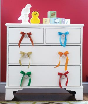 cute idea using ribbons to jazz up a boring chest of drawers