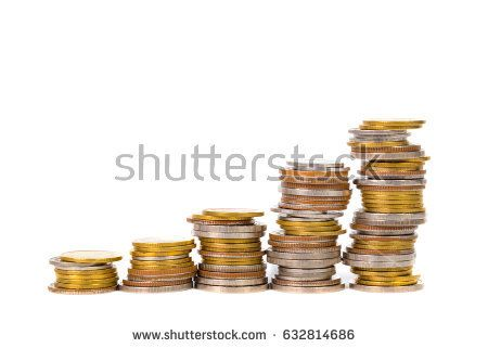 Savings, increasing columns of coins, piles of coins arranged as a graph on white background, business idea.