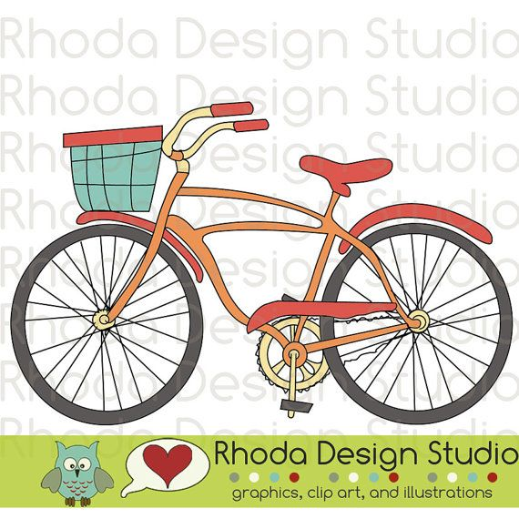 Retro Bikes Digital Clip Art Vintage Bicycles by RhodaDesignStudio, $2.75