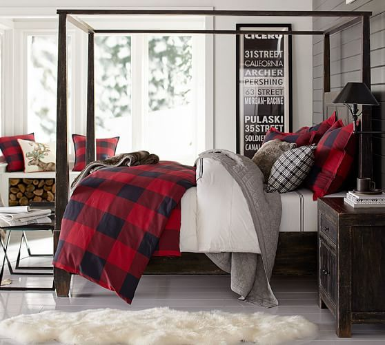 winter bedding inspiration. Buffalo Check Plaid Duvet Cover from Pottery Barn...I found some DIY tutorials on how to make the duvet cover for1/3 of the cost and that faux fur fabric is available at Joann Fabrics....you can make one!