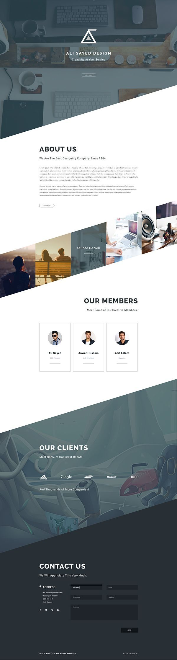 Angle / diagonal Business Agency Web Template Design. Web Design. Opus Online.