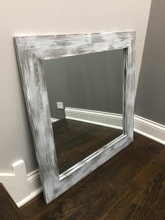 Gray Whitewash Mirror Grey Decor Vanity Mirrors Bathroom Etsy Grey Decor Wood Framed Mirror Rustic Mirrors