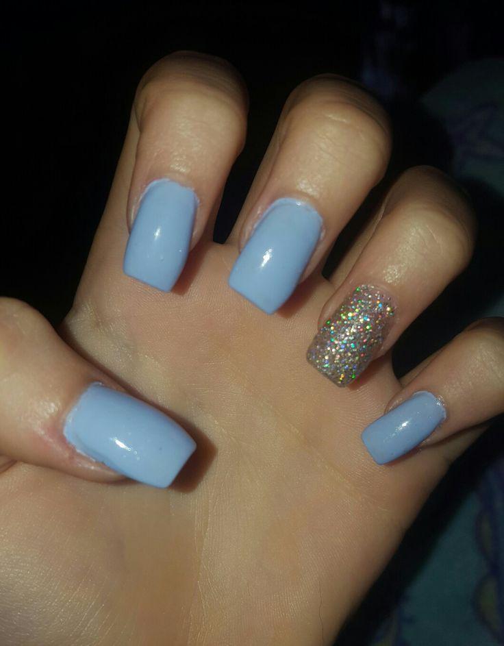 Short, blue, square, acrylic, nails