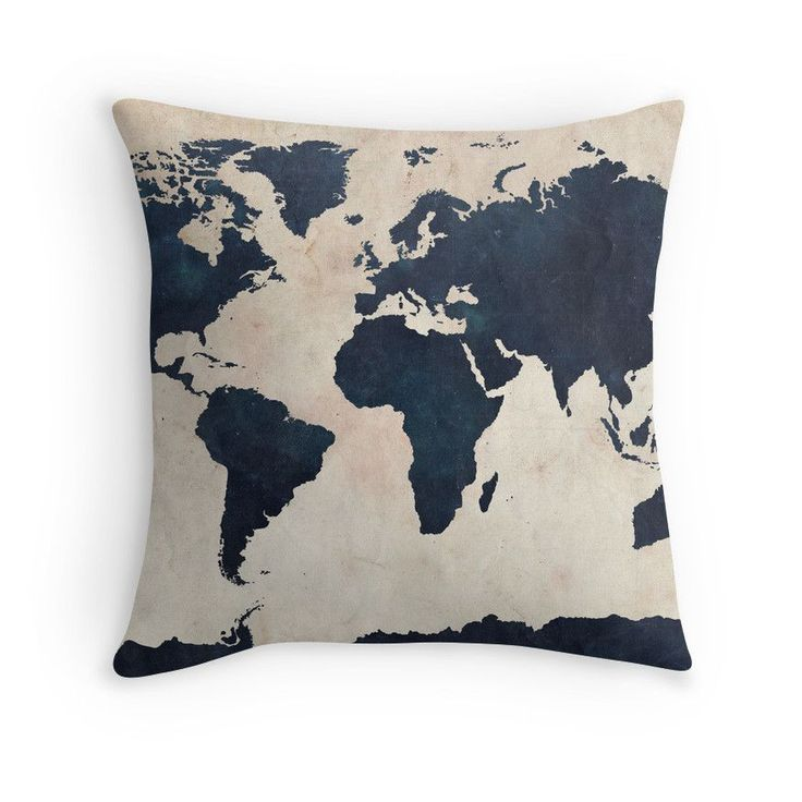 Indigo World Map Throw Pillow; $29.29