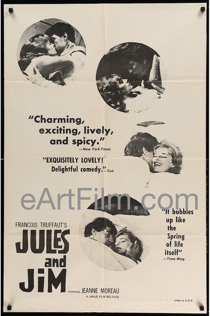 January 23 1962 #FrançoisTruffaut's #JulesetJim is released. #Truffaut #JeanneMoreau #HenriSerre #OskarWerner #Paris #France #JulesandJim  Jules And Jim-Jules Et Jim-1962-27x41-Original US Release One Sheet